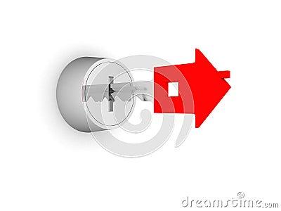 3d illustration of silver key in key-hole