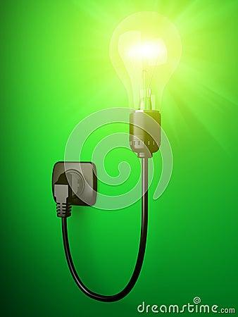 3D image shone electric bulb