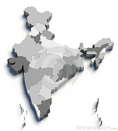 3d India grey map on white