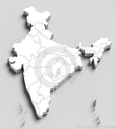 3d India white map on grey