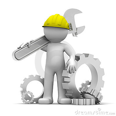 Free 3D Industrial Worker With Wrench And Gears Royalty Free Stock Photos - 19085838