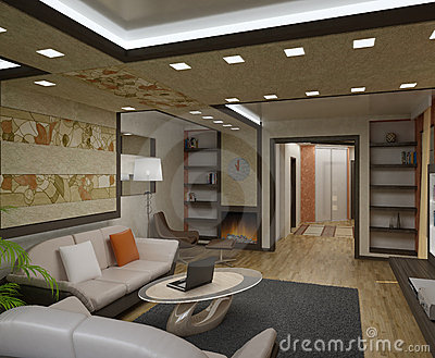 3D Interior Apartments Stock Images - Image: 13984404