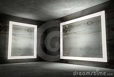3d interior corner with white empty frames