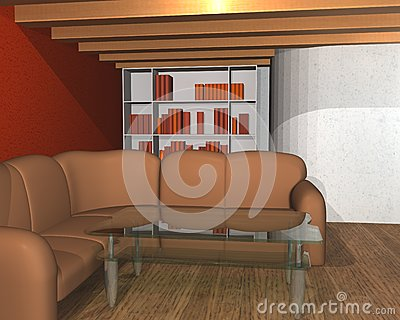 3D interior of a library room