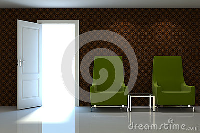 3d interior scene of a  couch on brow classic wall