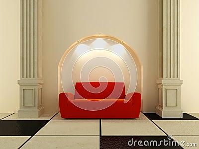 3D Interiors - Red sofa under the arc