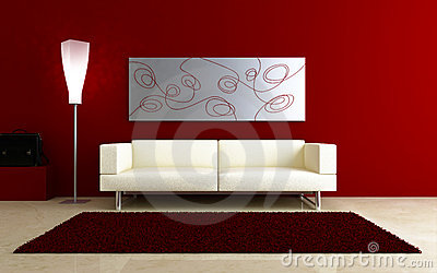 3d interiors - White couch in red room