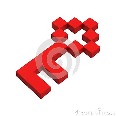 3d key pixel icon
