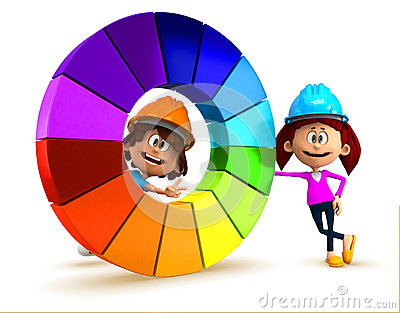 3D kids with a color chart