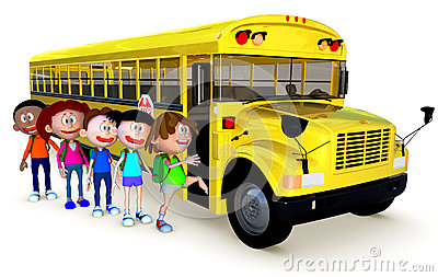 3D Kids going to school by bus