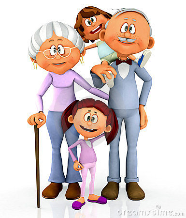 3D Kids With Grandparents Royalty Free Stock Image