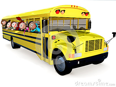 3D kids in a school bus