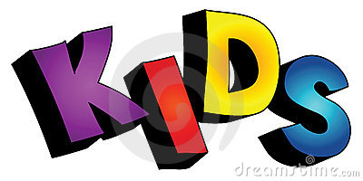 3D kids text isolated