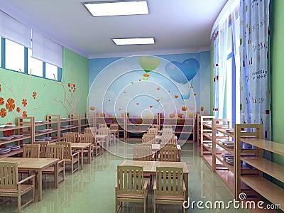 3d kindergarten restaurant