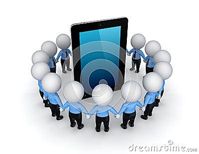 3d kleine mensen rond tablet.