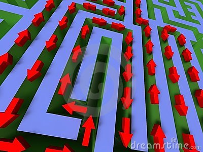 3D labyrinth with red arrow