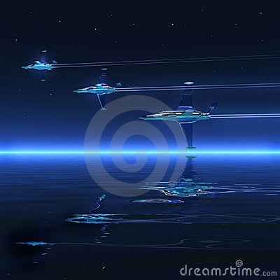 3d landscape, ocean and battle-planes