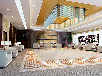 3d large reception room rendering