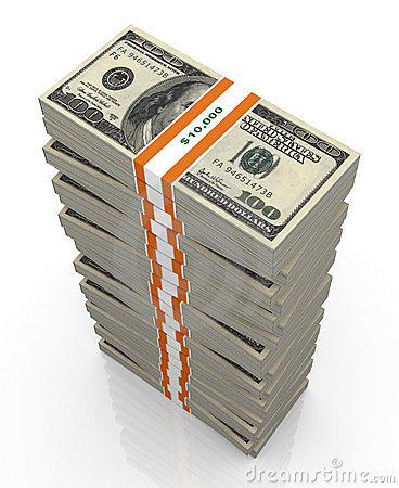 3d large stacks of dollar bills