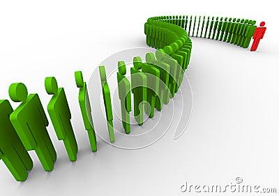 3d leadership and teamwork concept