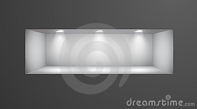 3d leeren regal f r ausstellung in der wand lizenzfreie stockfotos bild 18596968. Black Bedroom Furniture Sets. Home Design Ideas