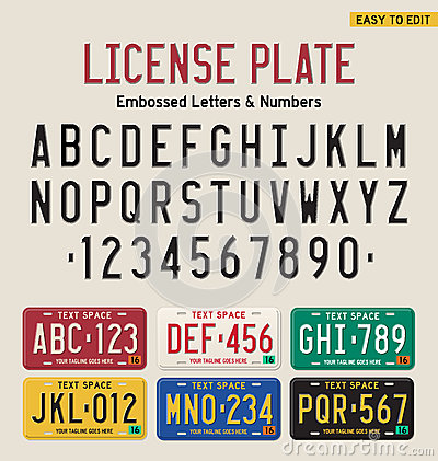 Free 3d License Plate Font Royalty Free Stock Image - 65114566