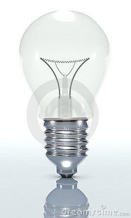 3D light bulb, isolated white