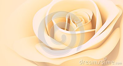 3D light orange rose