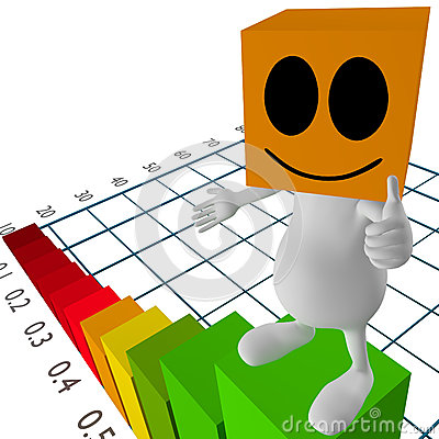 3d little cute people standing on chart
