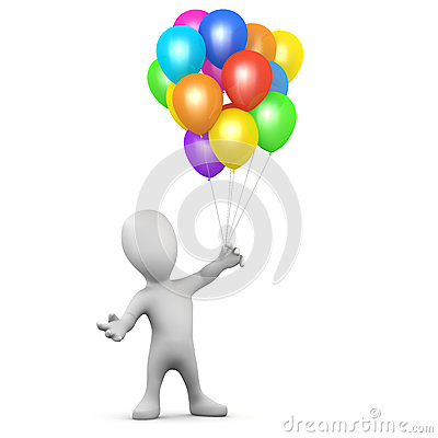 Free 3d Little Man Balloons Stock Photo - 40310060