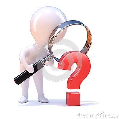 Free 3d Little Man Looks At A Question Mark Stock Images - 42701544