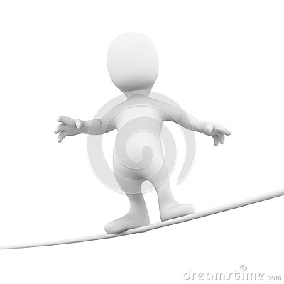 Free 3d Little Person Tight Rope Royalty Free Stock Photo - 40433545