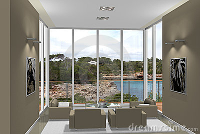 3D living room with fantastic view