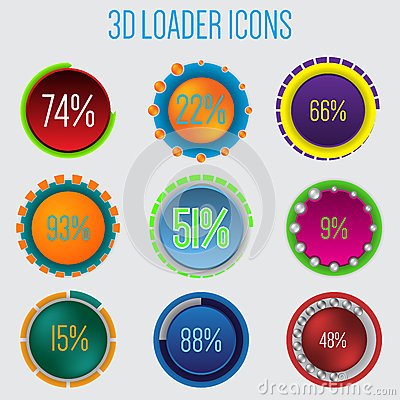 Free 3d Loader Icon Set Of 9 Royalty Free Stock Photography - 38368657
