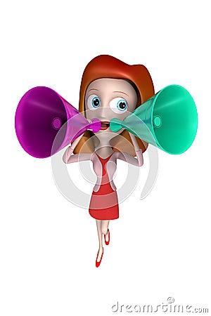 3D loudhailer girl