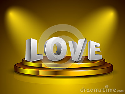 3D love text on golden stage.