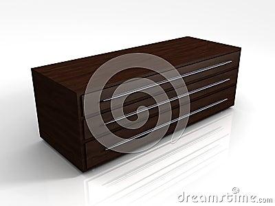 3D Mahogany Storage Cabinet