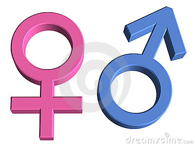 3D Male and Female Gender Symbols
