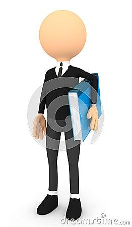 Free 3d Man And Blue Book Stock Photos - 26893053