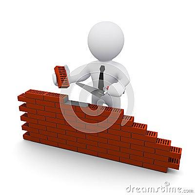 Free 3D Man And Brick Wall Stock Photo - 17937110