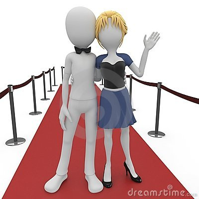 Free 3d Man And Girl On Red Carpet Royalty Free Stock Photography - 16498637