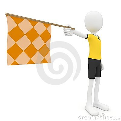 3d man assistant referee with flag