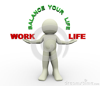 3d render of man holding work and life word 3d illustration of human