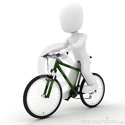 3d man and  bicycle studio render on white