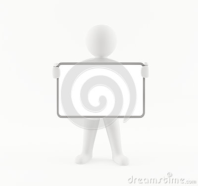 3D man with a blank white sign