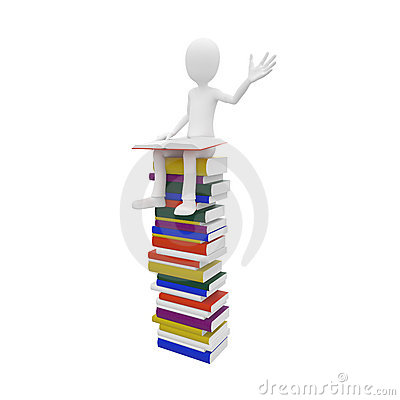 3d man with books