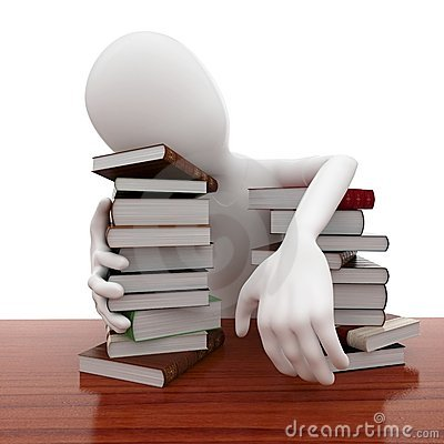3d man with books sleeping tired