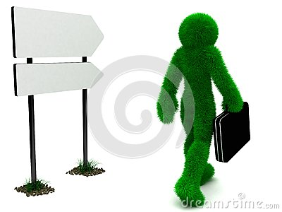 3D man and briefcase isolated on white.
