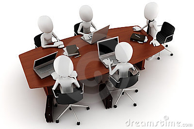 3d man business meeting - on white