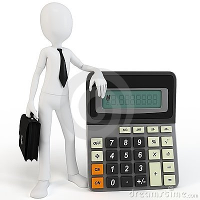 3d man businessman with calculato